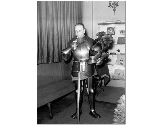 "Coktail knights - The photo was made in Paris during a costume party at ""La Tour d'Argent"", In 1949."